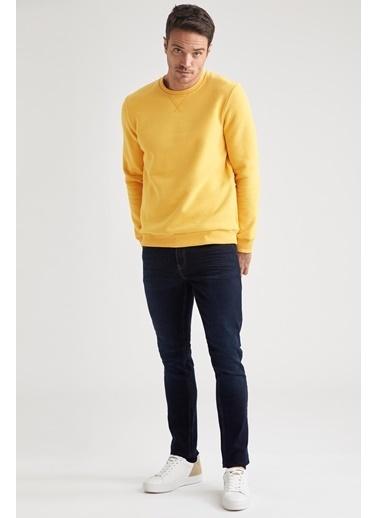 DeFacto Bisiklet Yaka Regular Fit Basic Sweatshirt Sarı